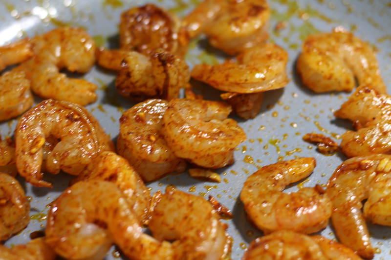 Shrimp & Avocado Salad cooking shrimp 2