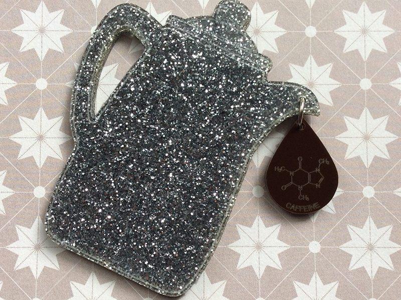 Silver Confetti Brooch with Caffeine Drip