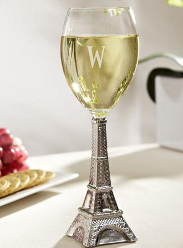 A wine glass with an Eiffel Tower as a stem.