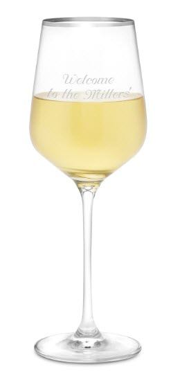 White wine glass with a silver rim