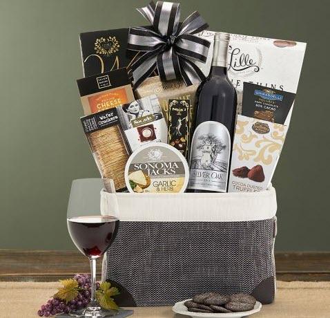 Gray bag with wine and chocolate