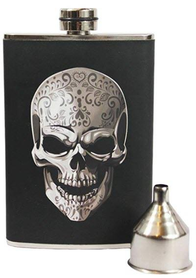 Black leather flask with a silver skull.