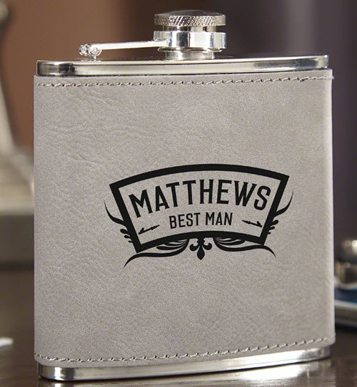 Slate gray flask with best man engraving