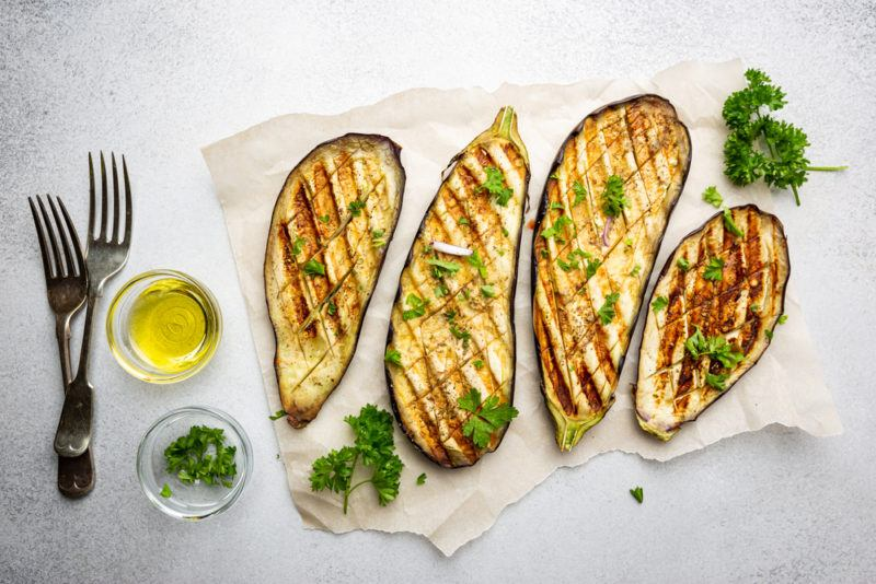 Sliced grilled eggplant pieces that can be used instead of meat