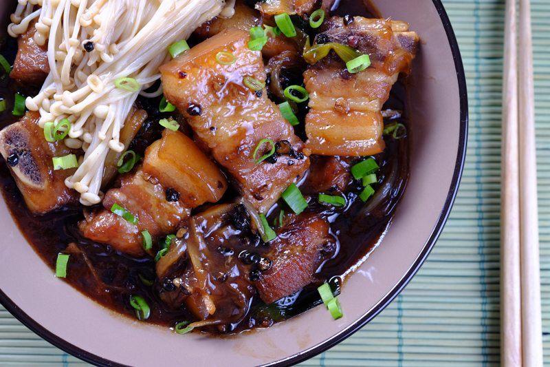 Slow Cooker Black Pepper Pork Belly Asian Dish