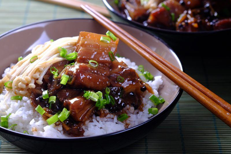 Slow Cooker Black Pepper Pork with mushrooms and rice