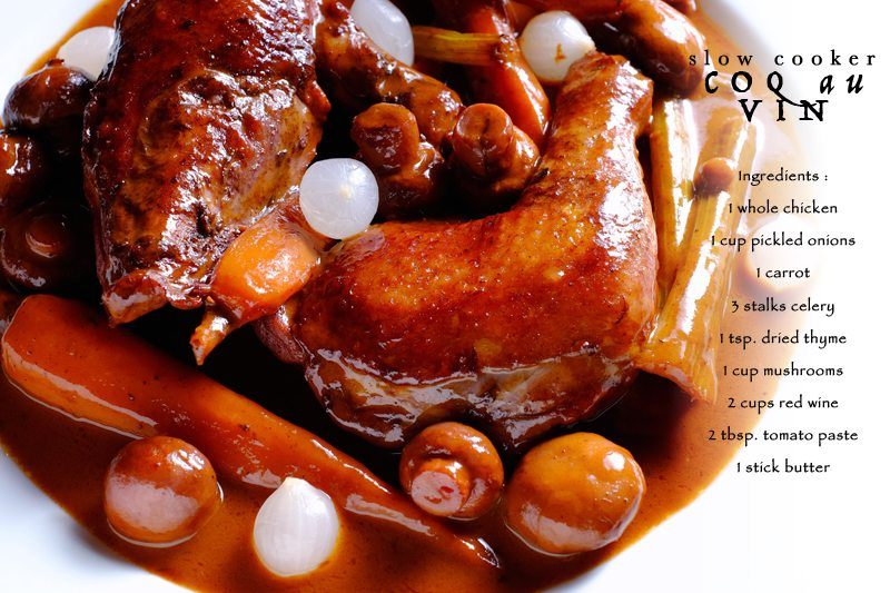 Slow Cooker Coq Au Vin edit with recipe on photo