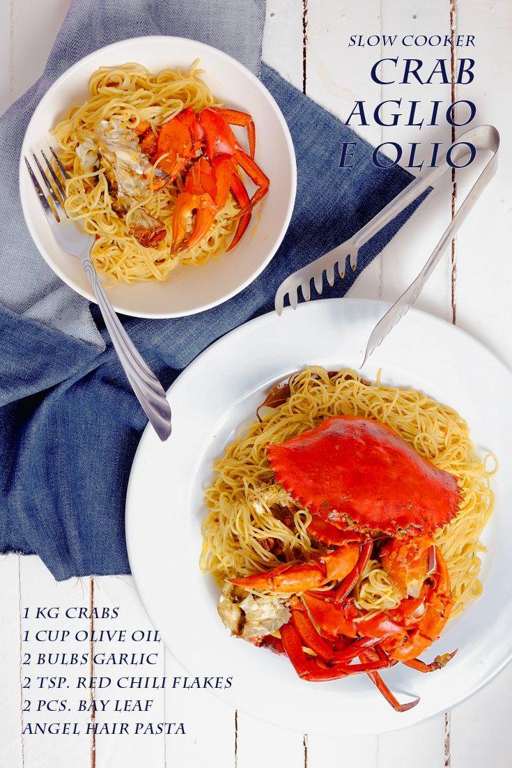 Slow Cooker Crab Aglio E Olio Full Recipe at FoodForNet.com