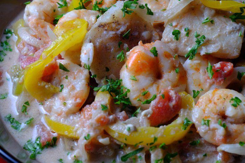 Slow Cooker Moqueca seafood soup detail