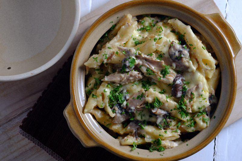 Slow Cooker Tuna and Portobello Casserole in Ceramic cooking pot
