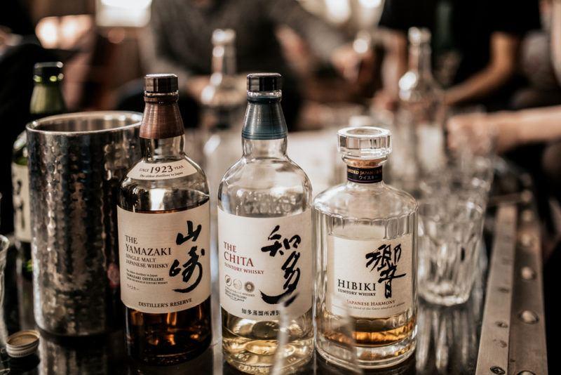 Small bottles of Japanese whisky including Hibiki