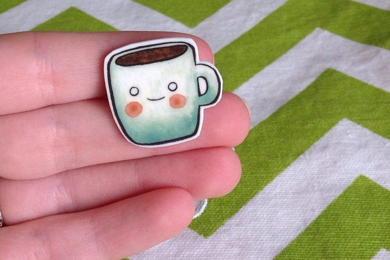 Smiling Coffee Mug Watercolor Brooch