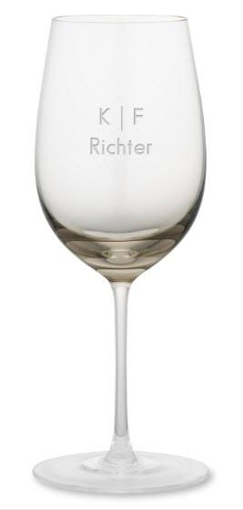 Smoky brown wine glass with K F Richter engraved