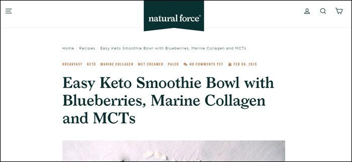 Website screenshot from Natural Force