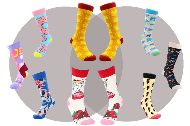An image from the Sock Panda website showing 10 brightly colored socks on sock models