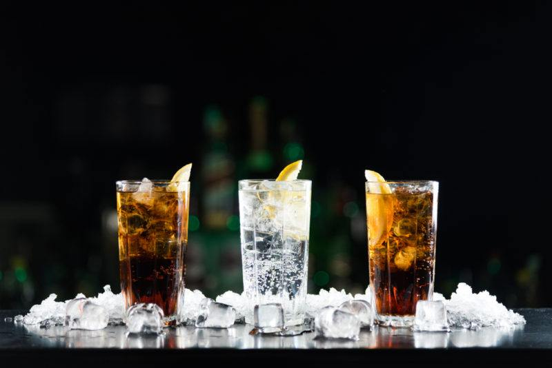 Two glasses with soda