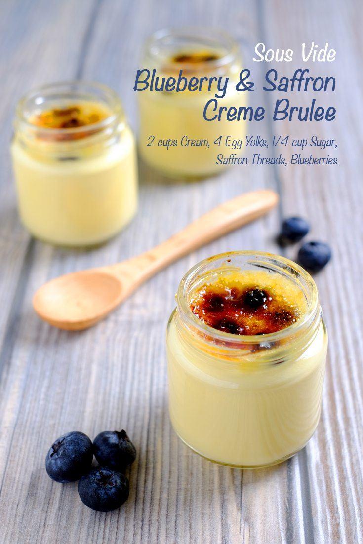 Sous Vide Blueberry and Saffron Crème Brûlée Full Recipe on FoodForNet.com