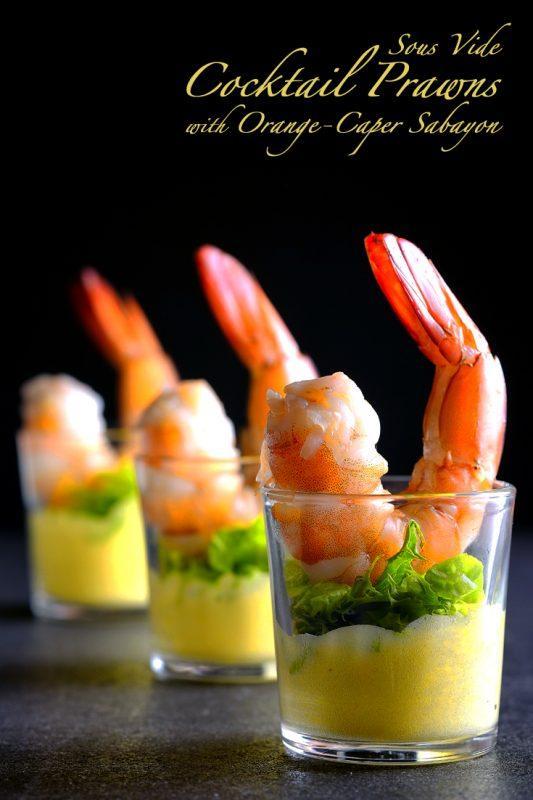 Sous Vide Cocktail Prawns with Orange-Caper Sabayon