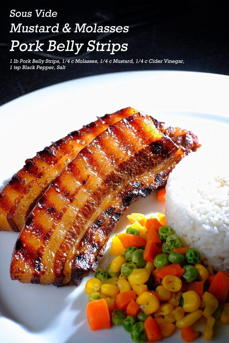 Sous Vide Mustard and Molasses Pork Belly Strips Full Recipe on FoodForNet.com