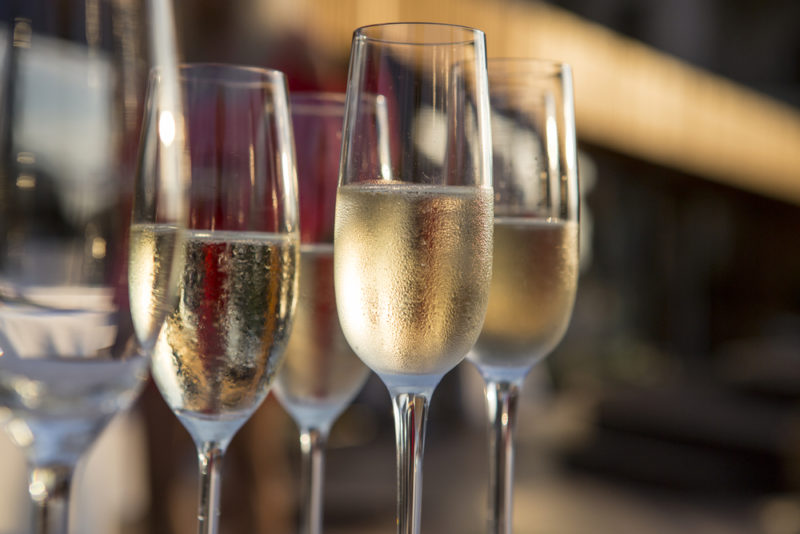 Glasses of champagne in flutes