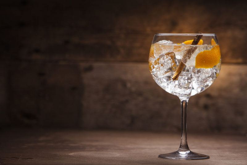A large glass of spiced gin and tonic