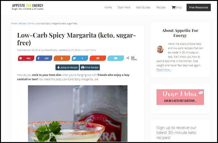 Website screenshot from Appetite for Energy