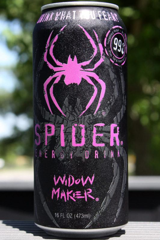 A black and pink can of Spider Energy Drink, where the spider and text is pink