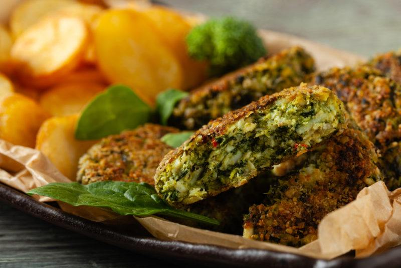 Meatballs made with spinach and broccoli