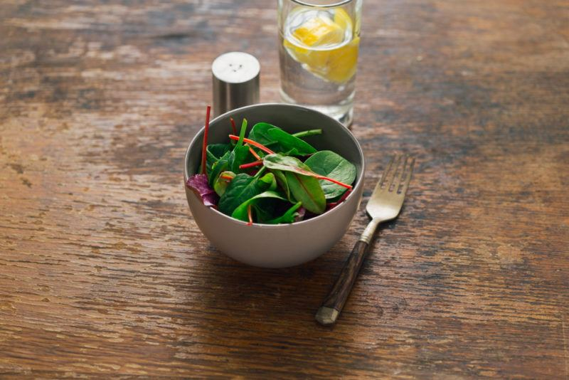 A small side salad with spinach