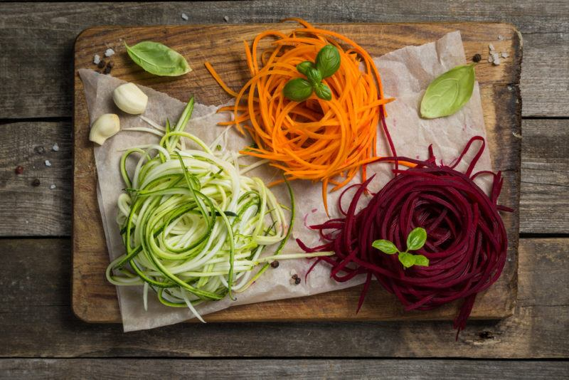 Three types of spiralized veggies