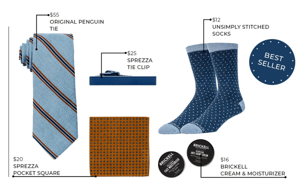 A blue rolled tie, a tie clip, blue on blue polka dot sox, cream and moisturizer, pocket square with white background