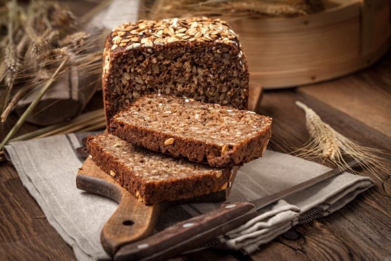 A loaf of sprouted bread that has been sliced