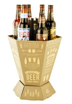 A bouquet of beer box containing 6 beers and a thermoflask.