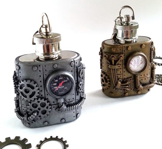 Small stainless steel flask with a steampunk-style exterior