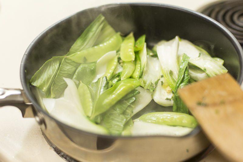 Stir Fry Bok Choy Stove Pan Spatula