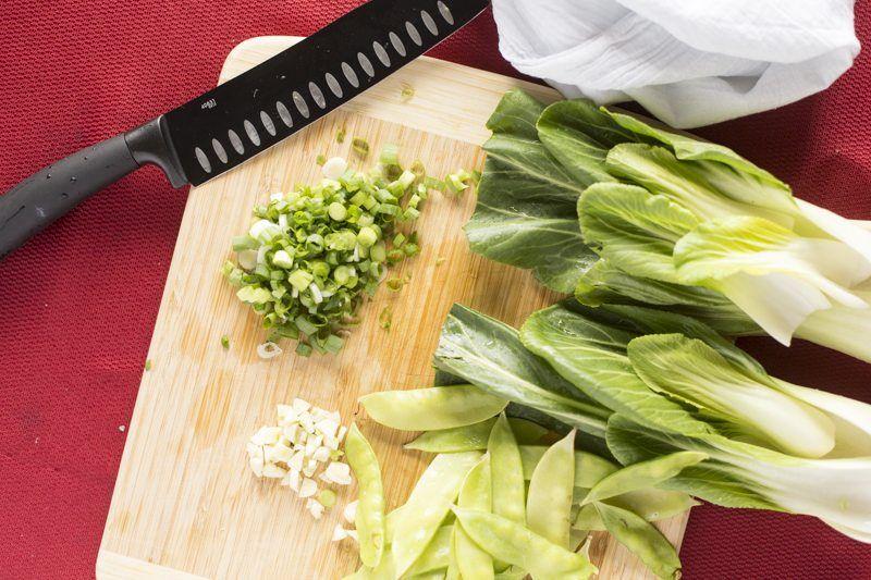 Stir Fry Ingredients Knife Garlic Bok Choy Green Onion