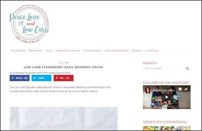 Website screenshot from Peace Love and Low Carb