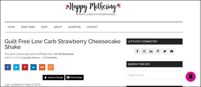 Website screenshot from Happy Mothering