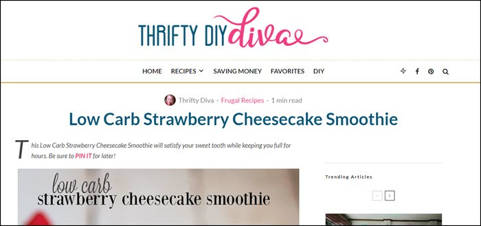 Website Screenshot from Thrifty DIY Diva