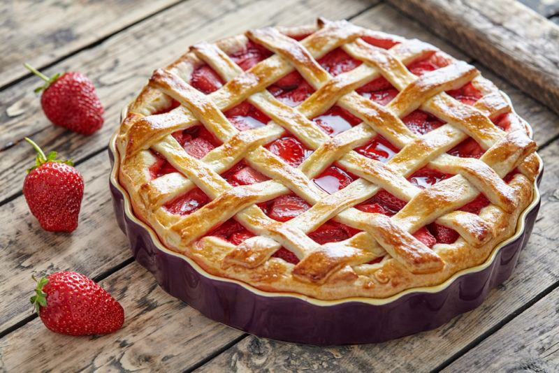A strawberry pie with lattice on the top