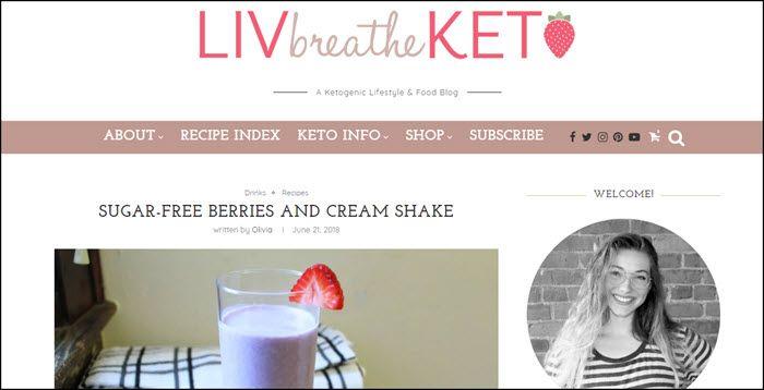 Website screenshot from Liv Breathe Keto