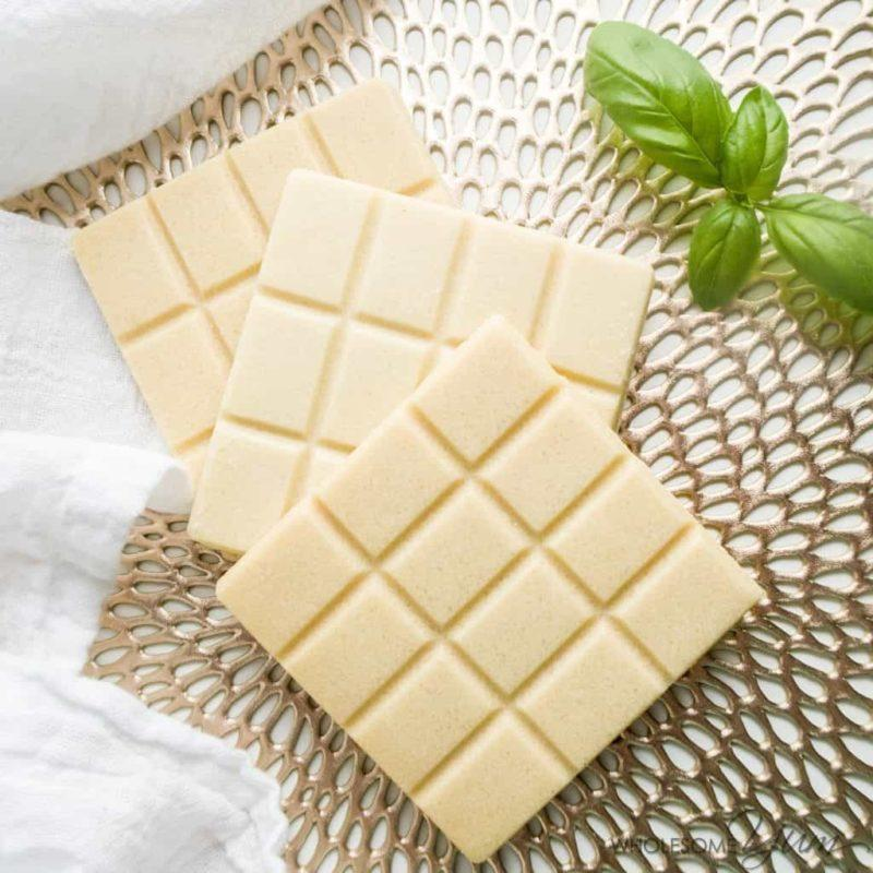 Three blocks of sugar free white chocolate