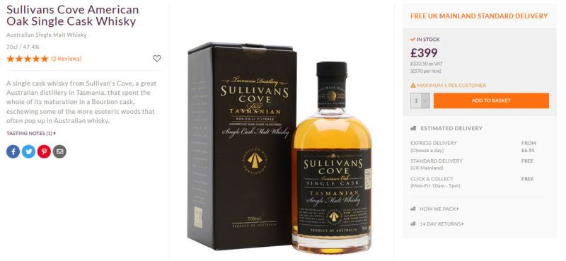 A bottle of Sullivans Cove American Wiskey and its box with pricing details and a description