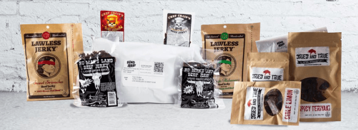 A selection of different jerky products in bags