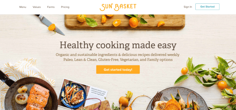 Sun Basket website screenshot with meal examples and chopped up kumquats