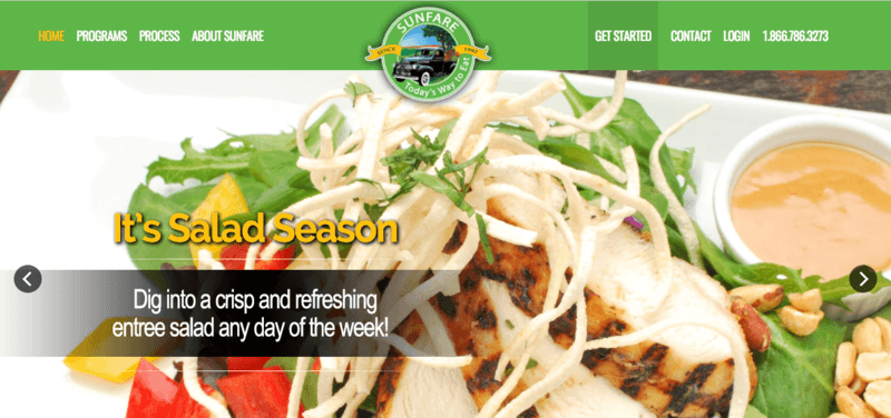 Sunfare website screenshot showing a chicken salad with red peppers and dressing