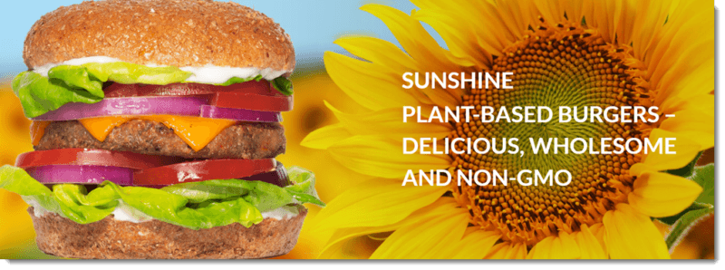 An image from the Sunshine site showing a burger made using one of their patties and a sunflower