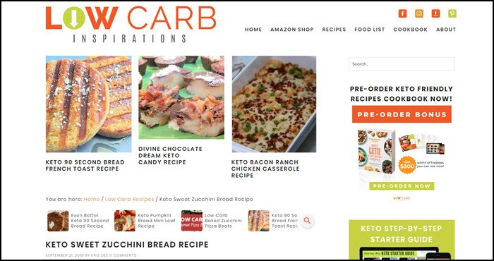 Website image from Low Carb Inspirations