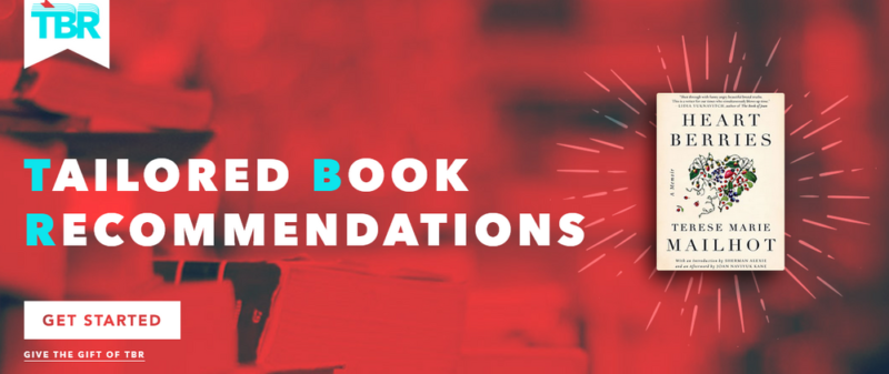 Tailored Book Recommendation Website Screenshot showing a red background and a book