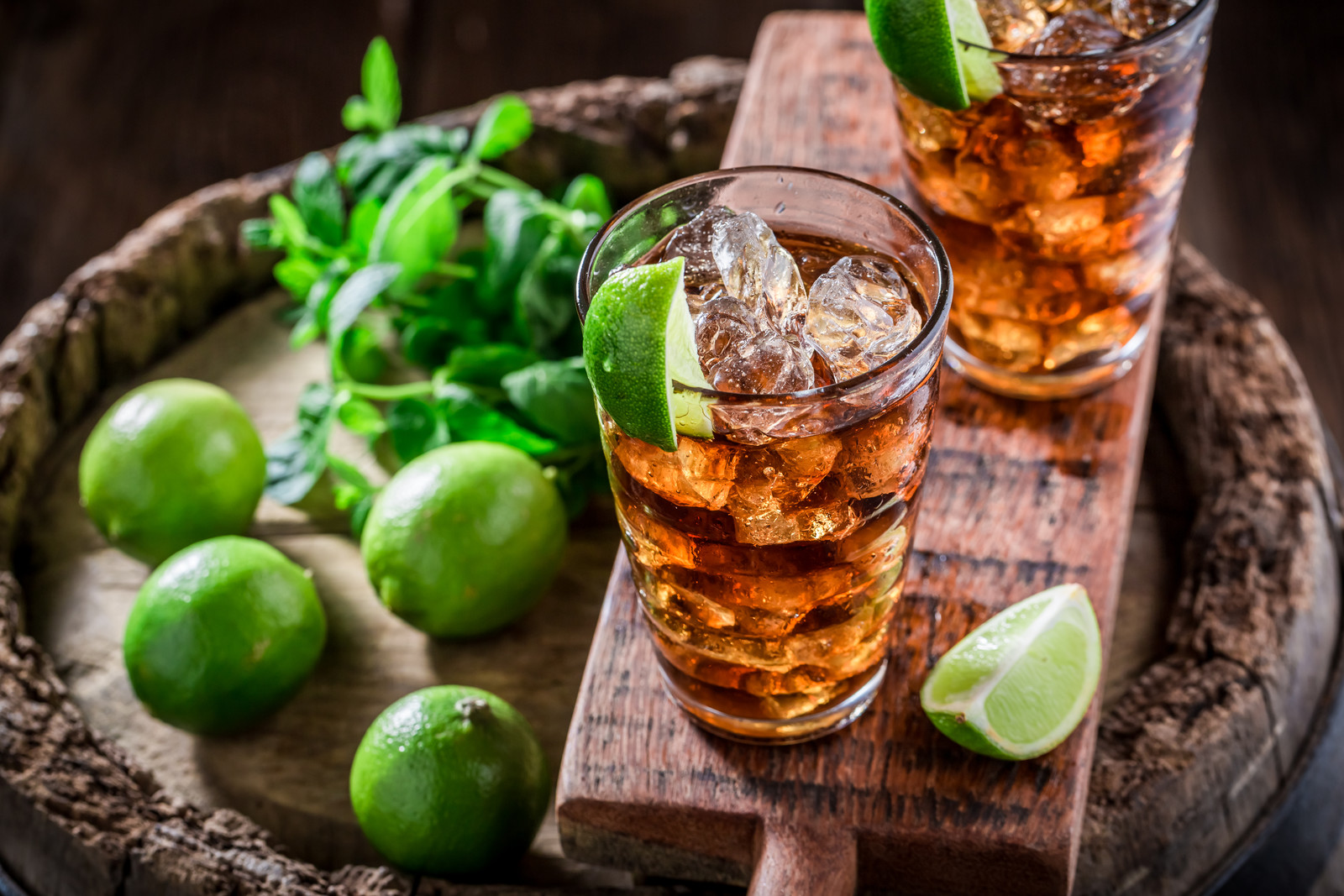 Tasty iced tea  with lime and ice